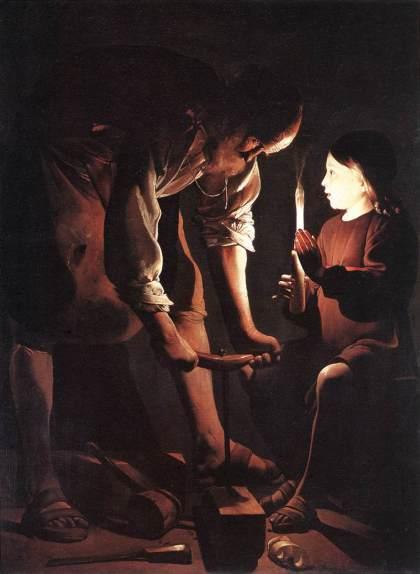 """""""Menino Jesus com São José Carpinteiro"""" - Georges de La Tour, Museu do Louvre"""