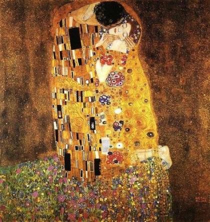 """""""O Beijo"""" - Gustav Klimt, óleo e folha de ouro sobre tela (1907-1908), do acervo da Galeria Belvedere, em Viena"""